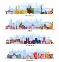 Cityscapes copenhagen lisbon edinburgh brussels vector
