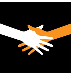 Colorful icon hand shake on black background vector image