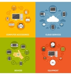 Computer devices and service icon set vector