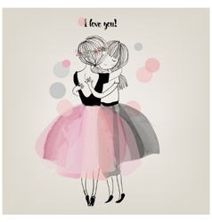 cute girls embrace vector image vector image