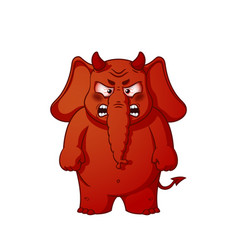 Elephant character angry red with horns devil vector