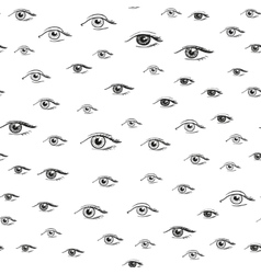 Eyes pattern from hand drawn psychedelic elements vector image