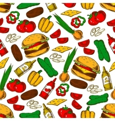 Fast food burger with ingredients seamless pattern vector