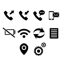 Flat black button icon set vector