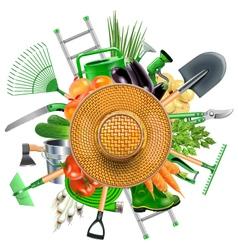 Garden Accessories with Sun Hat vector image vector image