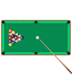 Green billiard table with cue and balls in vector