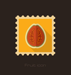 guava flat stamp tropical fruit vector image