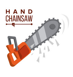 hand chainsaw petrol chain saw vector image