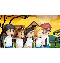 Kids near the barbwire fence vector