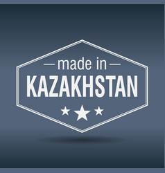 Made in kazakhstan hexagonal white vintage label vector