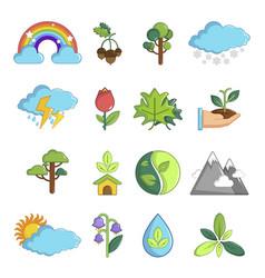 Nature icons set symbols cartoon style vector