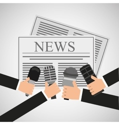 news hands reporter microphone and tape recorder vector image