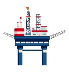 Oil platform at sea icon cartoon style vector