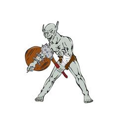 Orc warrior hold club shield cartoon vector
