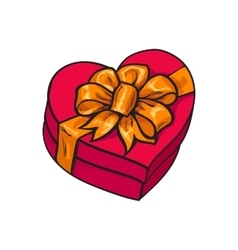 Red heart shaped gift box with bow and ribbon vector image vector image