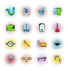 Sanitary engineering comics icons vector
