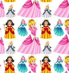 Seamless queens in different dresses vector image vector image