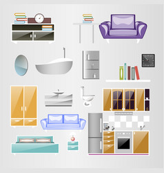 sets home accessories furniture design vector image vector image