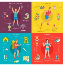 Sport and fitness infographic banners vector