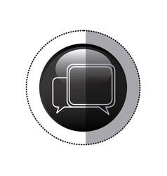 Sticker black circular frame with speech icon vector