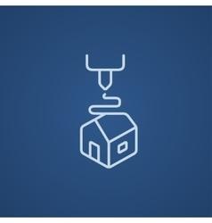Tree d printing line icon vector