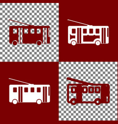 Trolleybus sign bordo and white icons and vector