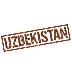 Uzbekistan brown square stamp vector