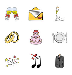 Wedding ceremony icons set cartoon style vector