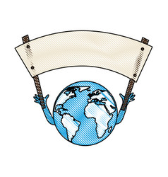 world planet with protest banner comic character vector image