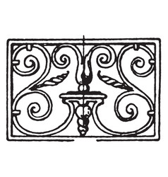 Wrought-iron oblong panel is french 18th century vector