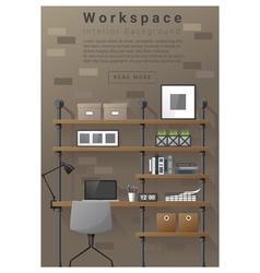 Interior design Modern workspace banner 7 vector image