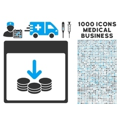 Get coins calendar page icon with 1000 medical vector