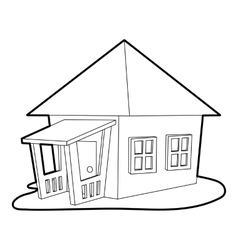 Bungalow icon outline style vector