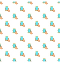 Hand works on mobile phone pattern cartoon style vector