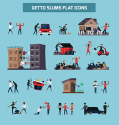 Ghetto slum flat icon set vector