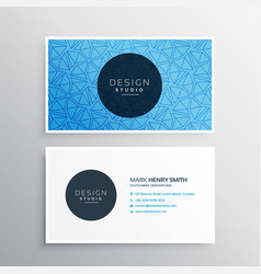blue business card template with triangle patterns vector image