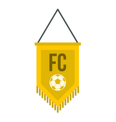 Yellow pennant with soccer ball icon isolated vector
