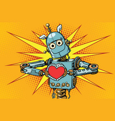 robot lover with a red heart symbol of love vector image