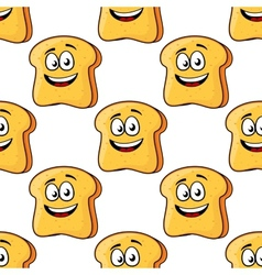 Seamless pattern of cartoon bread toast slices vector