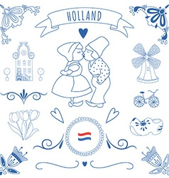 Collection of dutch ornaments deflt blue style vector