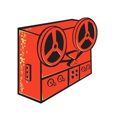 Tape recorder reel cassette deck retro vector