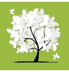 Art tree with butterflies for your design vector image