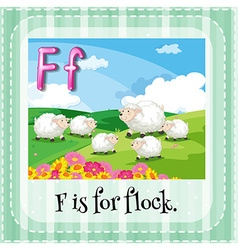 Flashcard of letter f vector