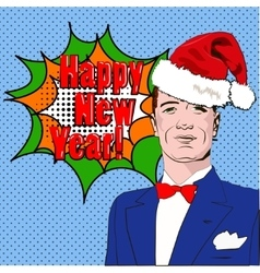 Pop art man happy new year vector