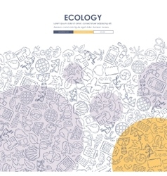 Ecology doodle website template design vector