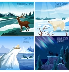 Northern landscape 4 flat icons square vector