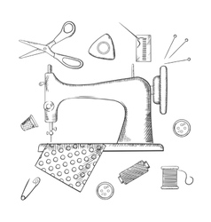 Sketched sewing and tailoring icons vector