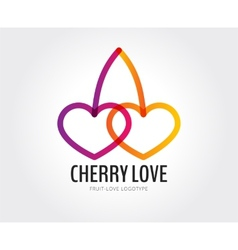 Abstract cherry love logo template for vector