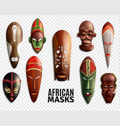 african masks transparent icon set vector image vector image