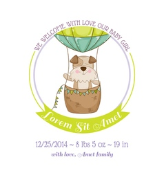 Baby shower card - baby dog and air balloon vector